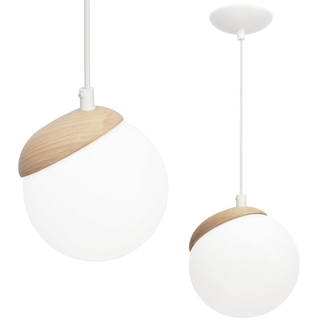 White Sphere Wood 1x E14