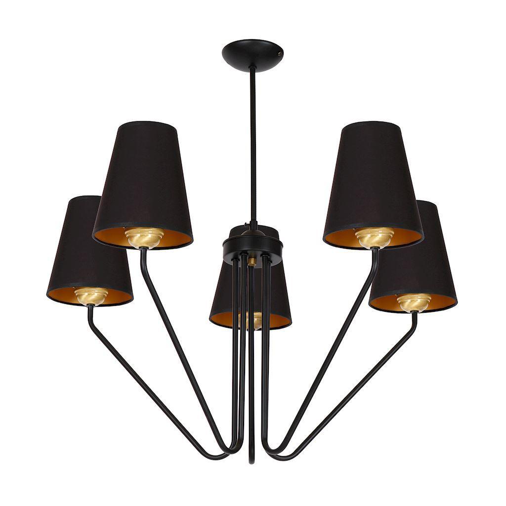 Schwarzer Victoria Kronleuchter Schwarz 5x E27