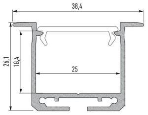 Aluminiumprofil, Silber Typ K, 2 m + Opaldiffusor, Befestigungsfeder small 1