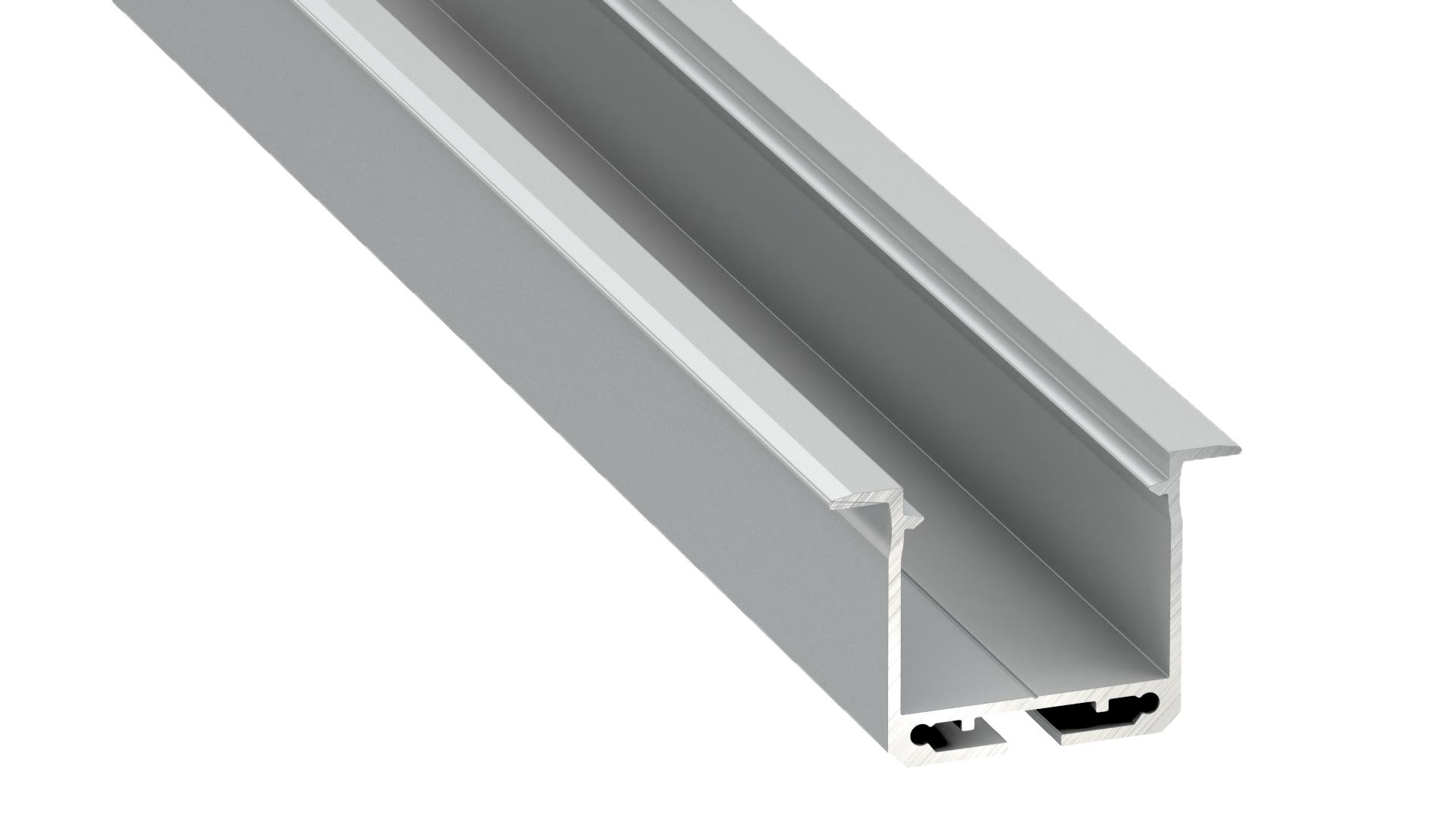Aluminiumprofil, Silber Typ K, 2 m + Opaldiffusor, Befestigungsfeder