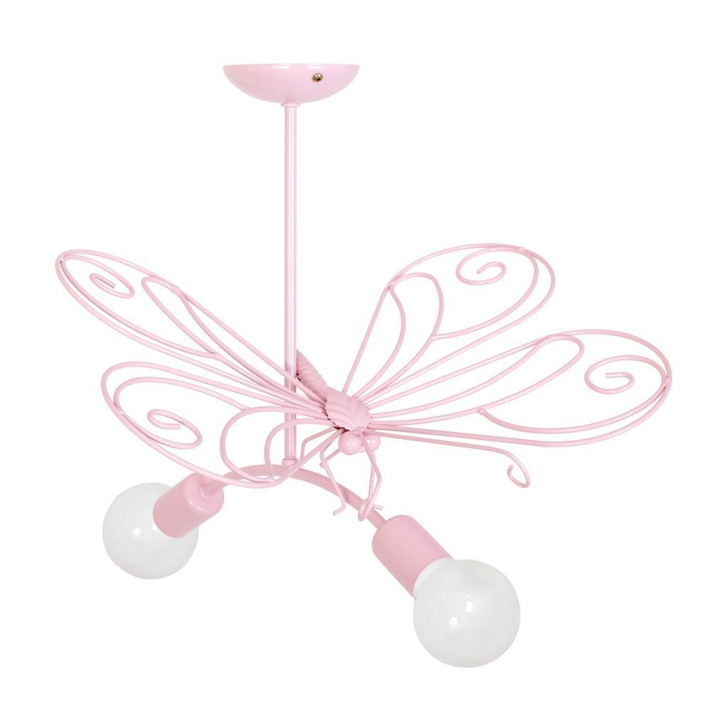 Pink Butterfly Chandelier 2 Pink 2x E27