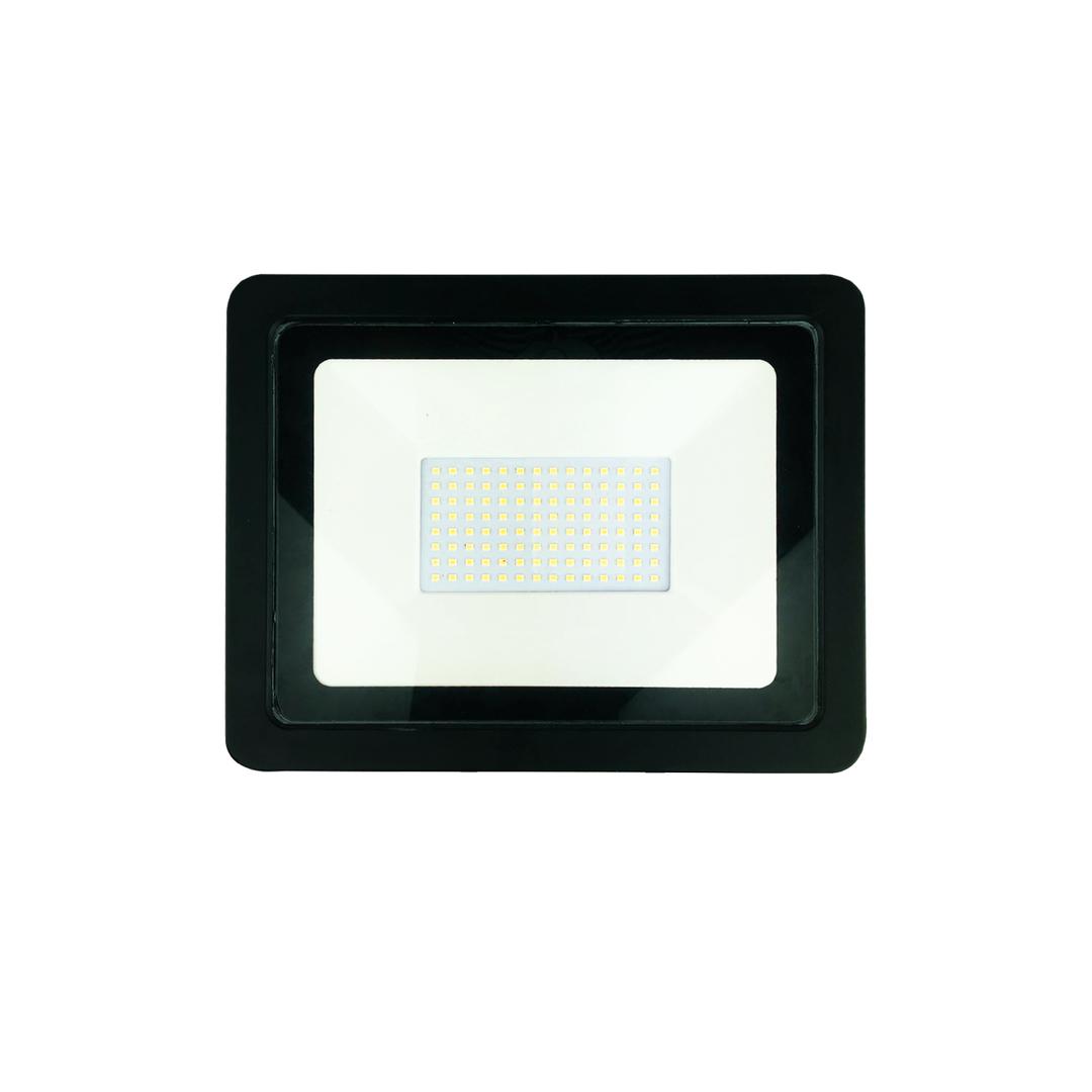 Schwarzer LED-Scheinwerfer 100 W. Farbe: 3000 K.