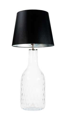 Handgefertigte Lampe Famlight Alor Transparente schwarz / silberne E27 60W transparente Flasche
