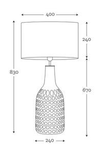 Dekorative Tischlampe Famlight Alor Black Sky Mattgrau E27 60W handgefertigt small 1