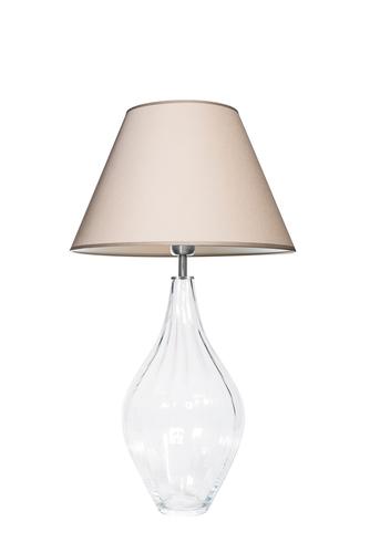 Glastischlampe Borneo Optic Transparent Famlight beige / weiß E27 60W