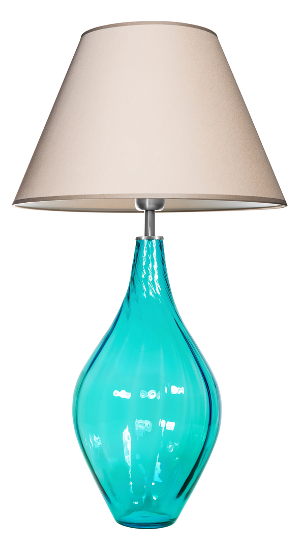 Glastischlampe Borneo Baltic Green Famlight beige / weiß E27 60W