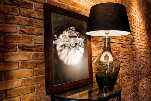 Ceylon S Grey Famlight E27 60W Kommodenlampe, handgefertigt