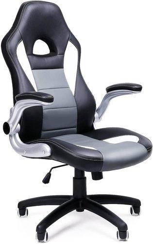 Bürostuhl mit Kopfstütze verstellbar Schwarz / Weiß / Grau OBG28G Songmics