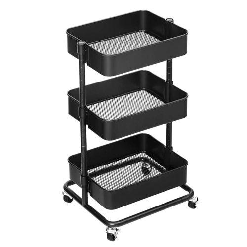 Schwarzer Küchenwagen mit Rädern BSC60B Songmics