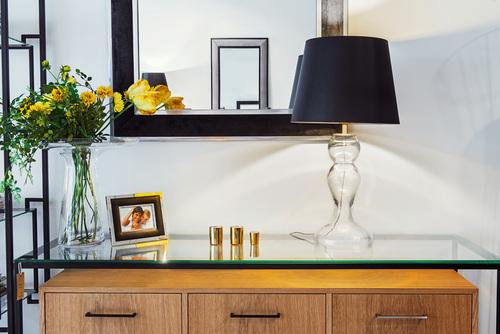 Tischlampe schwarz Flores Transparent mattgold E27 60W