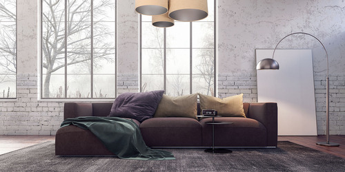 Elemente 60W E27 Deckenleuchte beige / silber, manuelle Herstellung, Velours
