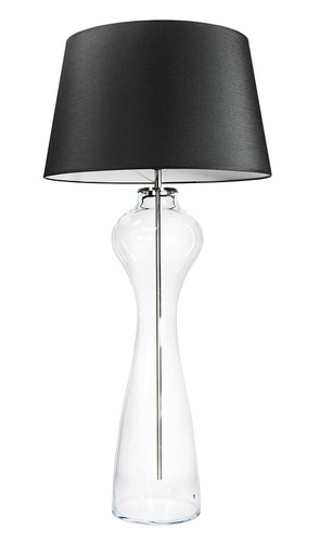 Große Tischlampe Famlight Havana L Transparent E27 60W Graphit / Weiß
