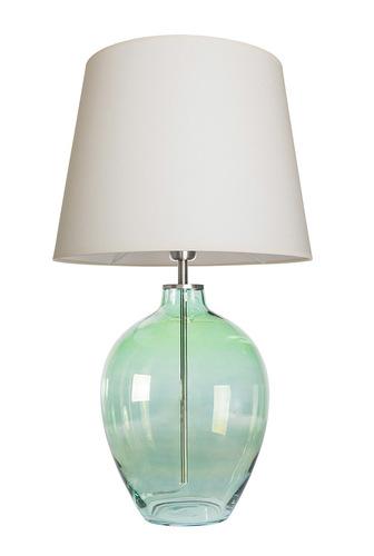 Handgefertigte Lampe Luzon Olive Famlight creme / weiß E27 60W