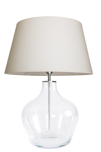 Moderne Tischlampe Famlight Madeira Transparent creme / weiß E27 60W