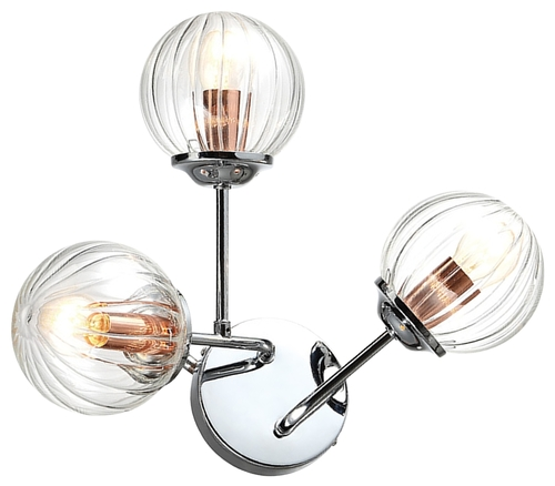 Beste Lampenwand 3X40W E14 Chrom + Kupfer