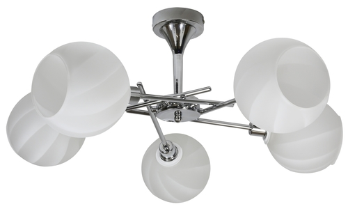 Raul Kronleuchter 5X40W E14 Chrom, weißer Lampenschirm
