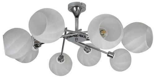 Raul Kronleuchter 8X40W E14 Chrom, weißer Lampenschirm