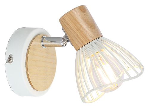 Chile Lampe Wandleuchte 1Xmax25W E14 Weiß + Holz