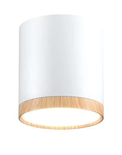 Deckenleuchte Tuba 5W LED 4000K Holz + Weiß Dia. 6,8 cm