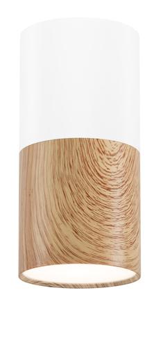 Deckenleuchte Tuba 1X50W Gu10 Holz + Weiß Dia. 5,8 cm