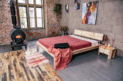Hochbett zum Schlafzimmer 180x200 geöltes Holz (Leinöl)