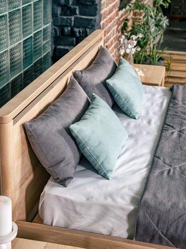 Drop Hartes Schlafzimmerbett 160x200 geöltes Holz (Leinöl)