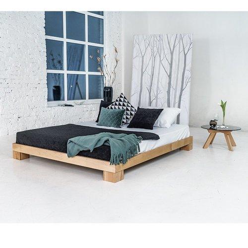 Würfel Schlafzimmerbett 180x200 geöltes Holz (Leinöl)