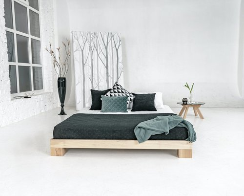 Würfel Schlafzimmer Bett 180x200 Rohholz