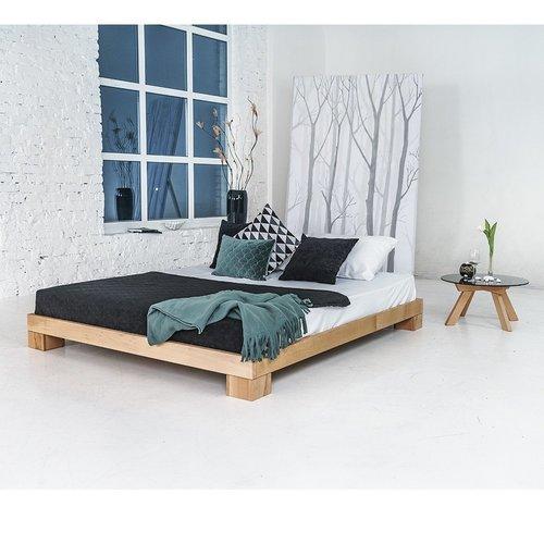 Würfel Doppelbett 140x200 geöltes Holz (Leinöl)