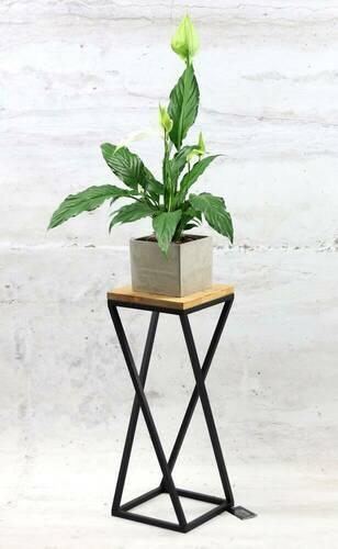 Metall Blumenständer Holz für Pflanzen TAVOLO 60cm schwarzer Dachboden