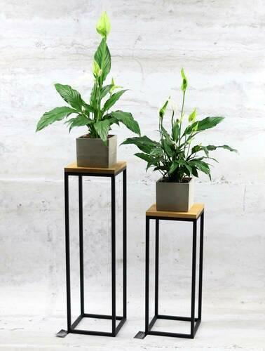Moderner Metallboden Blumenständer TAVOLO 60cm schwarz LOFT