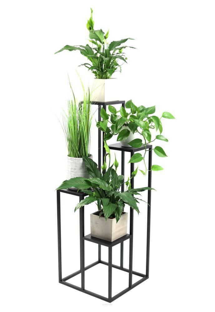 Metallblumenständer für vier Blumen METALLO 112cm schwarz LOFT