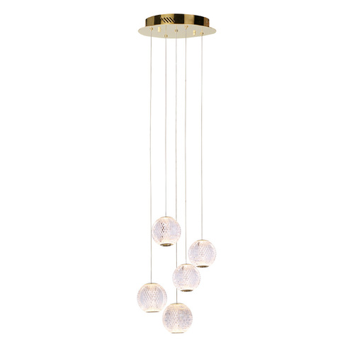 Goldene Rosario LED-Pendelleuchte