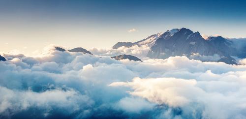 Fototapete Wolken, Himmel, Weiß, Leichtigkeit, Berge, Blautöne, Schlafzimmer Wandbild, Entspannung