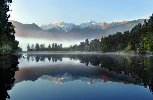 Fototapete Neuseeland, See, Landschaft, Wasser, Bäume, Natur, Berge