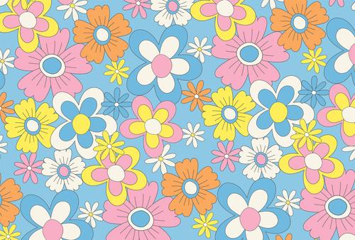 Fototapete Blumen, Minimalismus, Natur, Blau, Rosa, Kinderzimmer