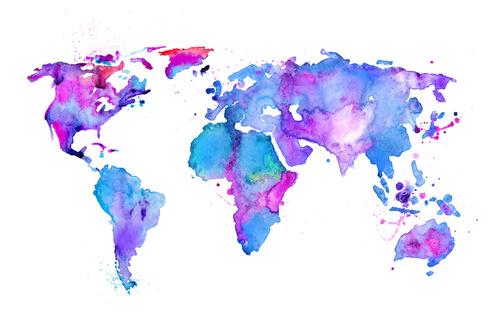 Fototapete Weltkarte, lila, blau, Karte, Aquarell