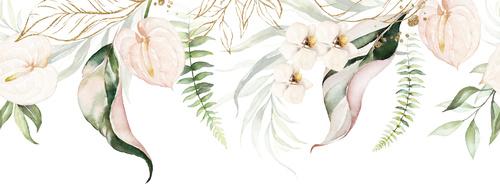 Fototapete Blumen, Weiß, Pastellfarben, Vintage, Glamour, Shabby Chic, Delikatesse