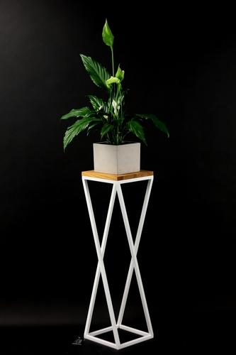 Blumenbeet Metallständer Holz für Pflanzen TAVOLO 80cm weiß loft