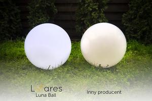 Set mit drei modernen Gartenlampen Luna Ball: 20 cm, 30 cm, 40 cm, weiße Kugeln, Glanz, inklusive LED-Lampen small 2