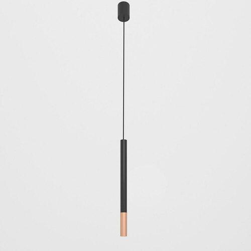 NERON 500 hängend max. 1x2,5W, G9, 230V, schwarzes Kabel, kupferfarben (glattmatt), tiefschwarz (glänzend) RAL 9005