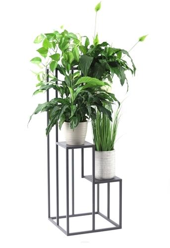 Blumenbeetständer aus Metall für vier Blumen METALLO 112cm Grau LOFT
