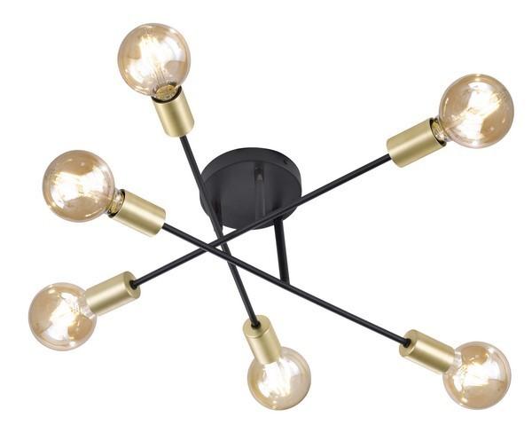 Schwarze Industriedeckenlampe mit sechs CROSS-Glühlampen