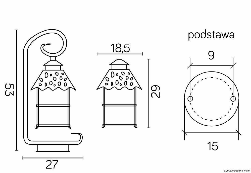 Außenstehleuchte an hängendem Glas (53 cm) - CADIZ K 4011/1 / Z
