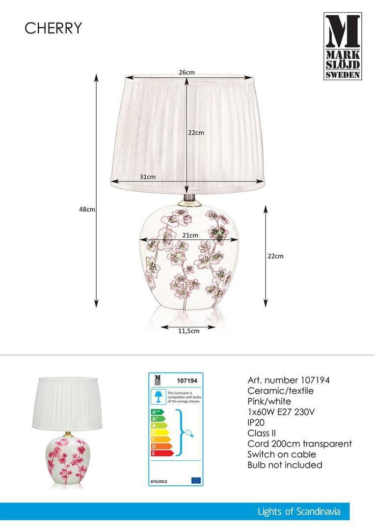 Kirsche Stołowa 48cm Weiß / Pink