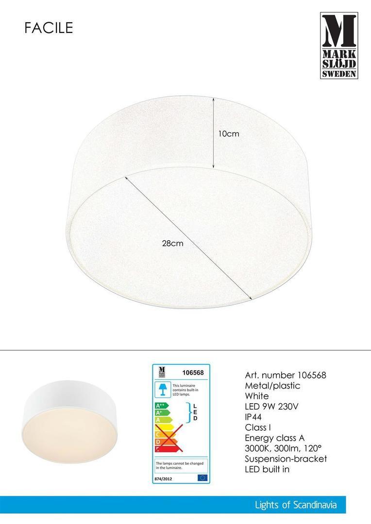 FACILE Plafon 28cm Weiß IP44