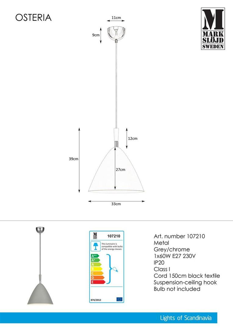 OSTERIA Hanging 1L Grau / Chrom