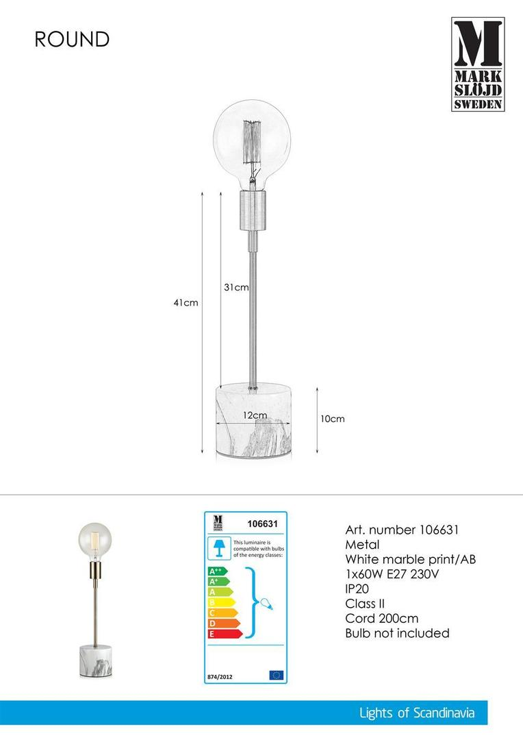 RUNDE Stołowa 1L 41cm Biały marmur nadruk / AB