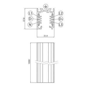 Kofferraumschiene EUROSTANDARD PLUS Länge 100cm (RAL 9005) STUCCHI schwarz small 1