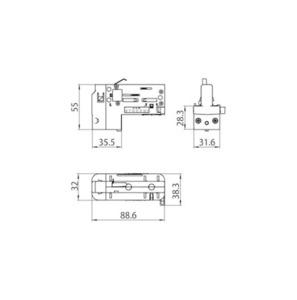 Asymmetrischer 4-poliger Adapter (3 PHASEN + N) mit STUCCHI Phasenwahlschalter schwarz, grau, weiß small 1